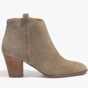 Madewell Billie Olive Suede Ankle Zip-Up Booties 9